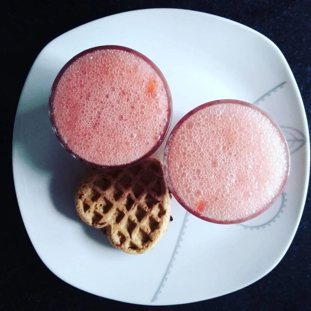 strawberry juice with oats pancake for my men in homehellip